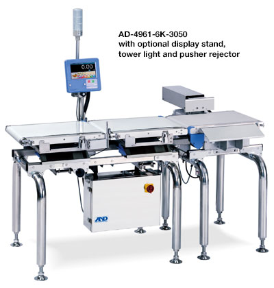 AD4961-6K-3050 with optional display stand, tower light and pusher rejector